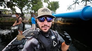 Running into Giant PYTHON Underwater In Miami Canals!! (treasure hunting)