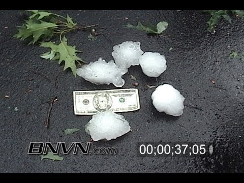 6/7/2007 Hail storm aftermath stock footage.