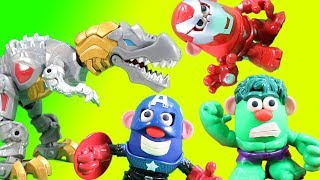 Marvel Mr Potato Head Mixable Mashable Heroes get eaten by Transformer Grimlock w/ Play-doh Magic!