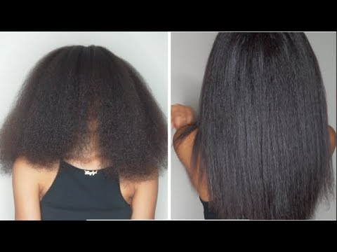 Curly to Straight Hair Tutorial | Natural Hair