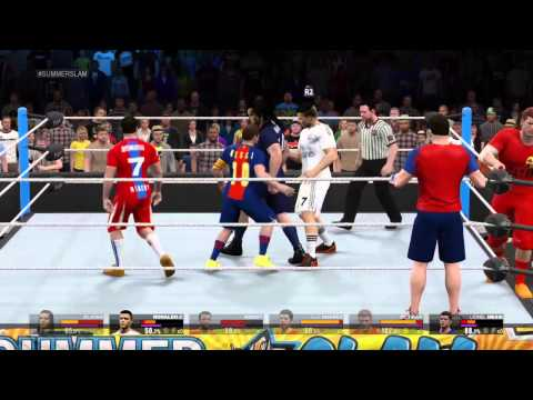 Ibrahimovic , Ronaldo and Ribery vs Messi , Neymar and Suarez ! WWE2K15