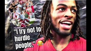 "Najee Harris, ""I try not to hurdle people."" 😂"