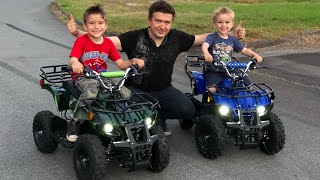 I Bought my Kids 2 Rosso Motors ATV for Kids Quad 4 Wheeler Ride From Amazon Unboxing and Review