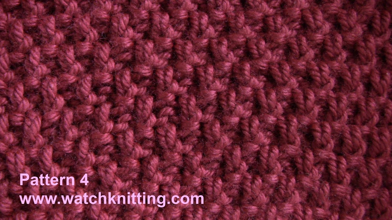 Knitting Adding Stitches In The Middle Of A Row : (Doubled Moss) - Simple Patterns - Free Knitting Patterns Tutorial - Watch Kn...