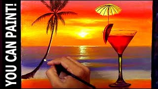 Painting Tutorial in Acrylic | Red Wine in Glass on Tropical Sunset Beach