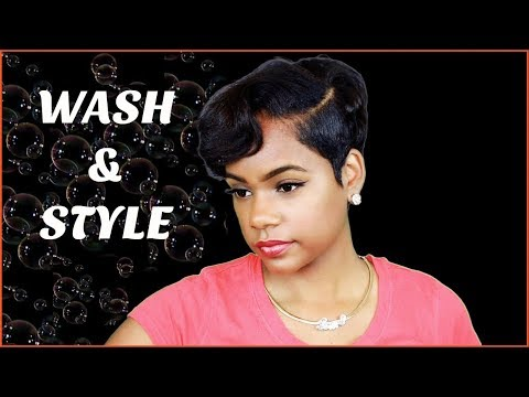 How I Wash and Style My Pixie Cut At Home | Relaxed Short Hair | Hair Tutorial