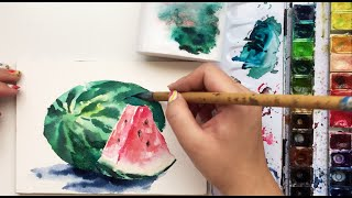 Real Time Watercolor Watermelon Painting Tutorial by Untamed Little Wolf