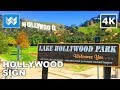 Hollywood Sign from Lake Hollywood Park in Los Angeles USA Walk Tour 🎧 3D Binaural Audio 【4K】