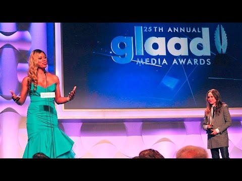 Ellen Page presents award to Laverne Cox at #glaadawards