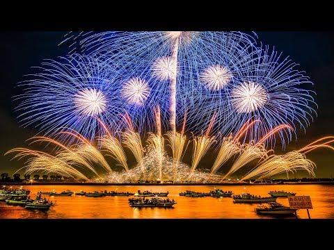 [4K Ultra HD] 桑名水郷花火大会 2017 2尺玉17発! NTN100周年記念 超特大仕掛花火 - Kuwana Suigo Fireworks Festival -