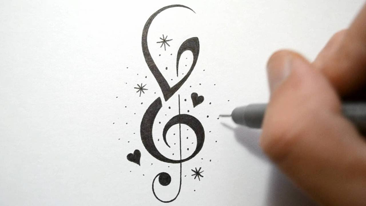 how to incorporate initials into music notes tattoo design youtube. Black Bedroom Furniture Sets. Home Design Ideas