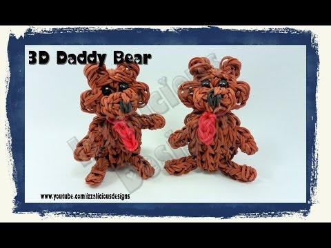 Rainbow Loom 3d Daddy Teddy Bear Action Figure ball Charm - Gomitas video
