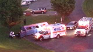 Paramedics pull person / body out of dumpster in Blacksburg, VA on 5/24/16