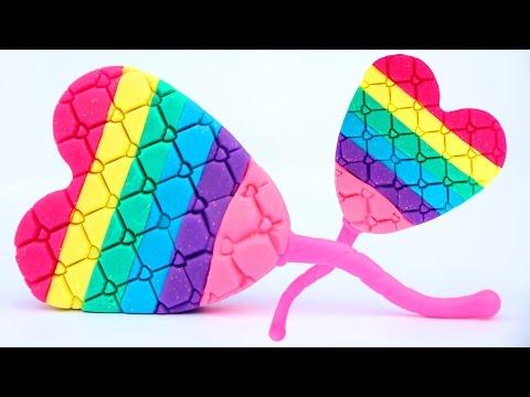 DIY How To Make Sparkle Play Doh Rainbow Popsicle Heart Ice Cream