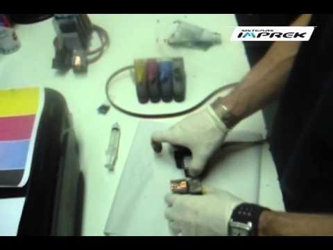 Purgado de cartuchos HP con sistema de 50cc utilizando una jeringa