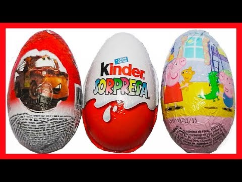 3 HUEVOS SORPRESA, PEPPA PIG, CARS 2 DISNEY PIXAR Y MAGIC KINDER GO MOVE COLECCIÓN SURPRISE EGG