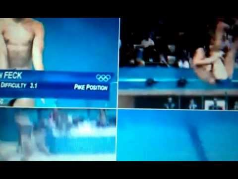 Stephan Feck embarrasingly Landed on his back diving fail (Viral London News Coverage 2012Olympics)