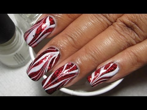 Red Glitter & White Water Marble Nail Art Tutorial