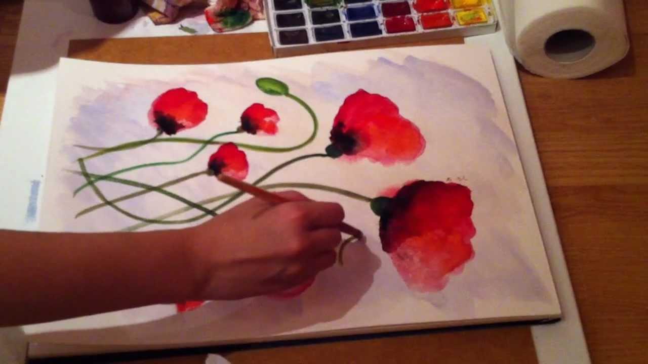 Пошаговый рисунок красками на бумаге