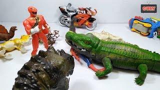 Đồ chơi siêu nhân gao và người nhện bắt cá sấu khổng lồ khủng long