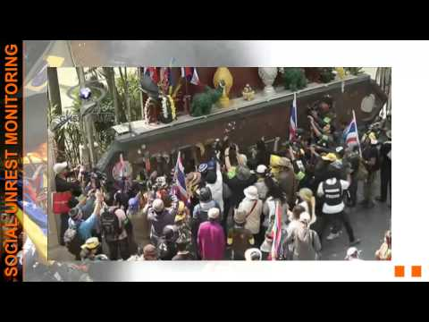 social unrest monitoring   Thailand   anti Shinawatra protest   Protesters deface police HQ sign