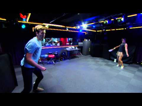 Cheryl plays cricket with Greg