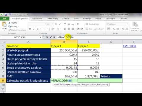 Excel Funkcja SPŁAC ODS Porównaj Odsetki Od Pożyczki Spłacanej 2 Razy I Raz W Miesiącu  Sztuczki #32