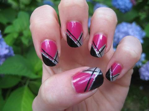 Girly Abstract French Nail Tutorial (Originally done by BennaBop)