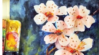 Cherry Blossoms watercolor tutorial, how to paint step by step the easy way