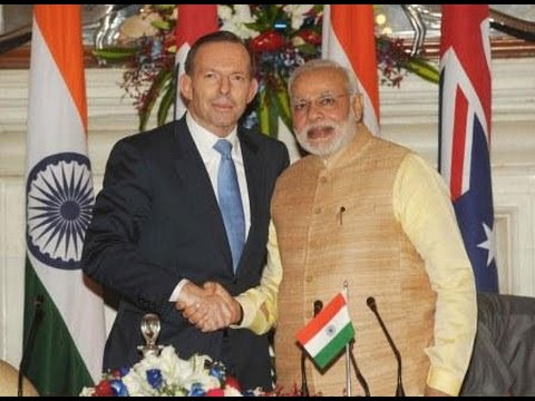 PM Modi and Australia PM Tony Abbott at the Joint Press Statements, in New Delhi
