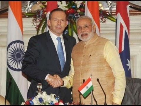 PM Modi and Australia PM Tony Abbott at the Joint Press Statements, in New Delhi