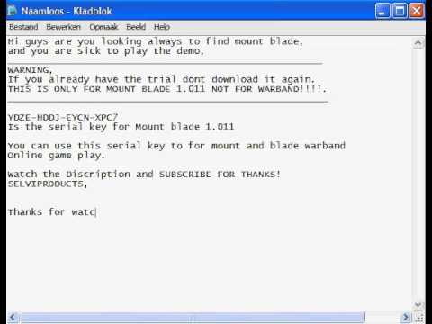 serial key mount and blade warband