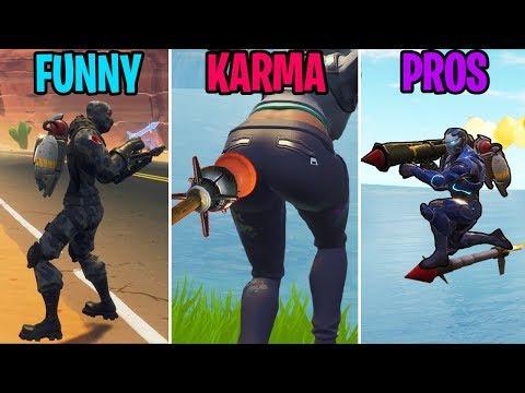 INFINITE ROCKET RIDES! FUNNY vs KARMA vs PROS! Fortnite Battle Royale Funny Moments