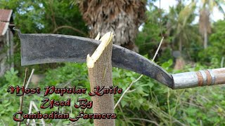 Making Cambodian Farmers' Most Popular Knife From Chainsaw Guide Bar Using A Few Tools