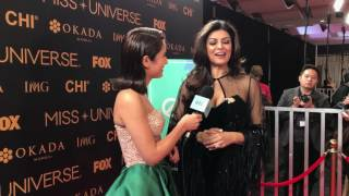 Sushmita Sen interviewed at the 65th Miss Universe Red Carpet