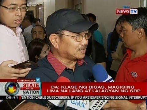 SONA: Dept. of Agriculture: Klase ng bigas, magiging lima na lang at lalagyan ng srp thumbnail