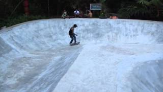 Ian Tayao skateboarding at the Forest Camp Skate Bowl