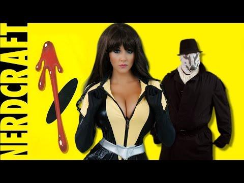 How to Make Watchmen Rorschach Mask -  Nerdcraft ft Silk Spectre Cosplay