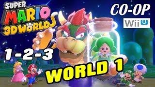 Let's Play Super Mario 3D Worlds - World 1 (1-2-3) Co-Op WiiU Gameplay pt. 1