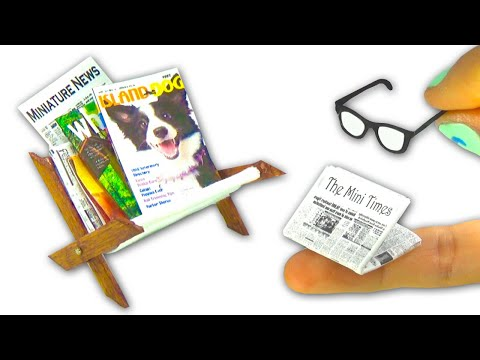 Miniature magazines, newspapers, glasses and magazine rack (that opens/closes!) DIY - YolandaMeow♡