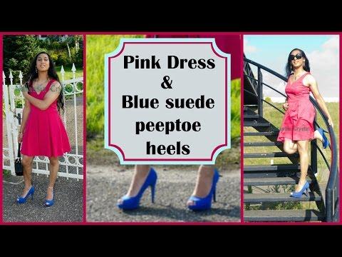 Crossdresser - pink dress and blue high heels
