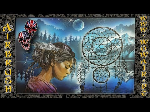 "Airbrush by Wow No.831 "" Indian Girl / Dreamcatcher "" english commentary"
