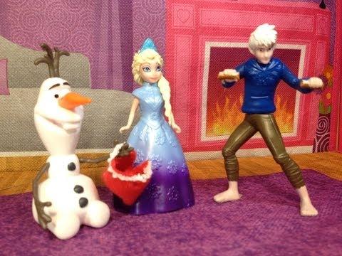 FROZEN Disney Queen Elsa Learns Spanish  Espanol from Jack Frost a Disney Frozen Movie Toy Parody アナ