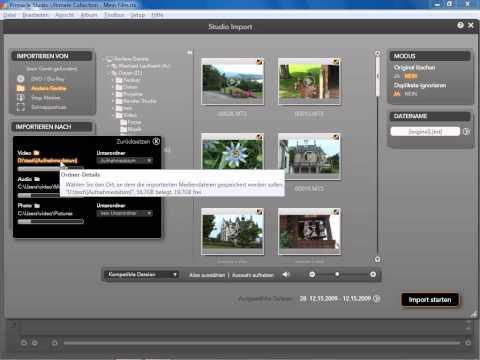 Video ab HDD Kamera importieren in Pinnacle Studio 14 und 15