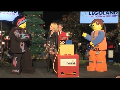 Elizabeth Banks lights the Legoland California Brickmas Tree 2013 with Lego Movie characters