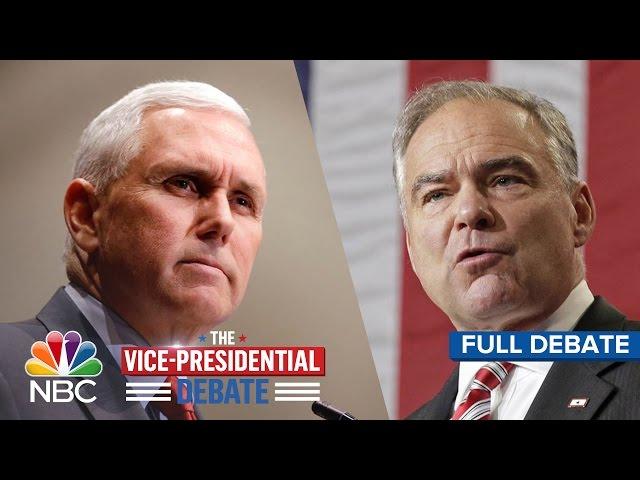 The Vice-Presidential Debate Tim Kaine And Mike Pence Full Debate  NBC News