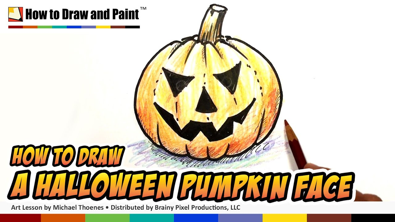 How to draw a halloween pumpkin face youtube for Funny pumpkin drawings
