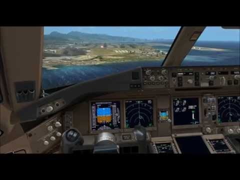 PMDG 777 Korean air landing at Honolulu(PHNL,HNL) rwy08L,fsx,fs2crew,777 immersion