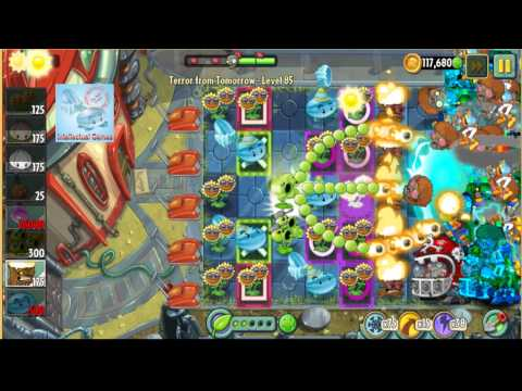Terror From Tomorrow Level 85 Threepeater Boost Power Tiles Plants vs Zombies 2 Endless GamePlay