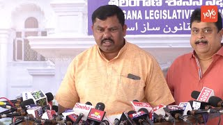 MLA Raja Singh Speaks at Telangana Assembly Media Point Over Governor Narasimhan Speech